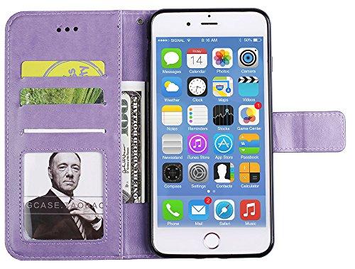 """Iphone 7 Plus Coque silicone, Iphone 7 Plus Accessories, Coque Iphone 7 Plus silicone, Nnopbeclik® Mode Fine Folio Wallet/Portefeuille en Bonne Qualité PU Cuir Housse (5.5 Pouce) """"Datura"""" fleur de Gau pourpre"""