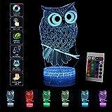 3D Nachtlicht Illusion Lampe LED Kinder Eule Deko Licht Stimmungslicht Fernbedienung Nachttischlampe 7 Farben ändern Touch Switch Schreibtisch Lampen Geburtstagsgeschenk