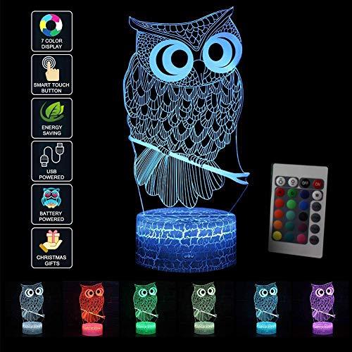 Preisvergleich Produktbild LED Nachtlicht 3D Kinder Eule Illusion Stimmungslicht Fernbedienung Nachttischlampe 7 Farben ändern Touch Switch Schreibtisch Lampen Geburtstagsgeschenk