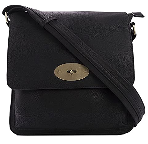 Kukubird Faux Leather Twist-Lock Clasp Detailing Crossbody Messenger Bag - Black