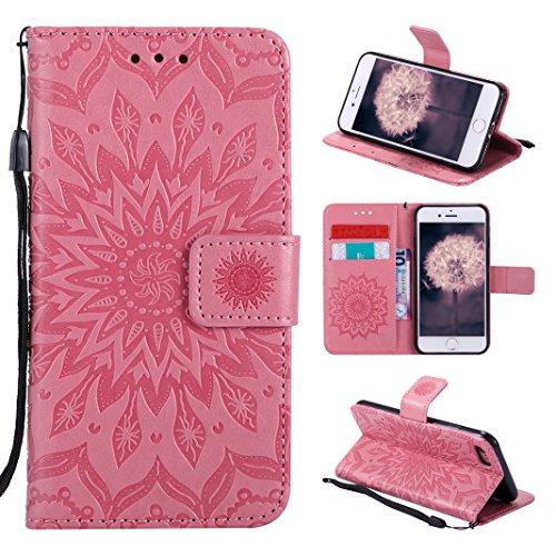 Asnlove Tasche für iPhone 8, Handyhülle iPhone 7 Leder, Premium Ledertasche im Ständer Book Case Brieftasche mit Kartenfach Magnetverschluss und Standfunktion für Apple iPhone 8/7 Design Mandala -