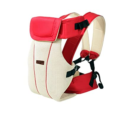 Baby Carrier Front and Back Adjustable 4 Positions Carrier Backpack Soft Structured Ergonomic for Newborns, Infants & Toddlers By GOMNEAR (red)