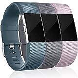 HUMENN Kompatibel für Fitbit Charge 2 Armband, Weiches Silikon Sports Ersetzerband Fitness Verstellbares Uhrenarmband für Fitbit Charge2 Small Schieferblau, Grau, Lavendel