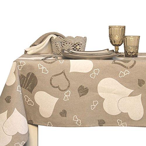 Tovaglia e tovaglioli in cotone con disegno a cuori in stile shabby chic