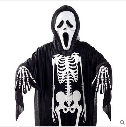 Halloween Kostüm Skeleton Handschuhe Kostüm Unisex Scary für Erwachsene Frauen Männer Jungen Mädchen Cosplay Schädel Ghost Perfekt für Party Urlaub Gelegenheit (Erwachsene freie Größe)