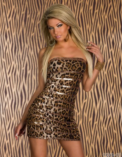 Fashion4Young - Robe - Sans bretelle - Femme Léopard