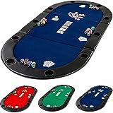 Table de Poker Pliante à Poser Deluxe avec Sac de Transport, 208 x 106 x 3 cm, Panneau MDF, accoudoires rembourrés, 10 Porte -gobelets