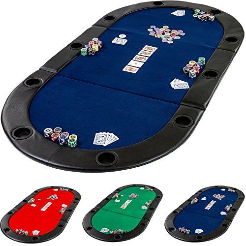 Deluxe faltbare Pokerauflage mit Tasche, 208x106x3 cm, MDF Platte, gepolsterte Armauflage, 10 Getränkehalter