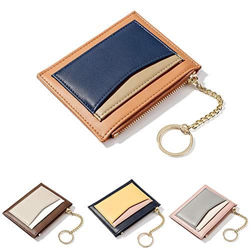 ZhaoCo Reißverschluss Tasche, PU Leder Geldbörse Karten Halter Geldbeutel Mappe Münzen Taschen Geld Organisator für Frauen Mädchen Damen (Orange) -