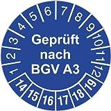 100 Stück Geprüft nach BGV A3 Prüfplakette blau 2014-2019 30 mm Durchmesser Prüfetikett Prüfaufkleber selbstklebend auf Rolle