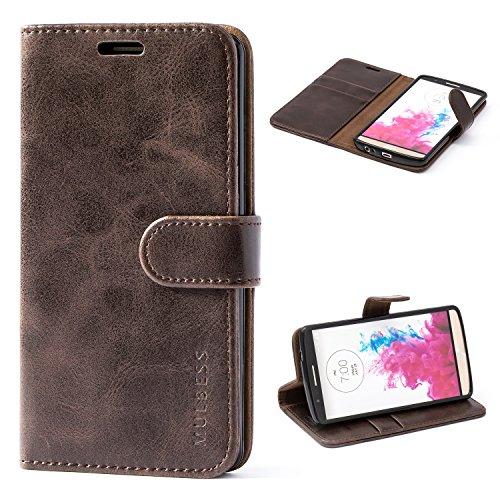 Mulbess Handyhülle LG G3 Hülle Leder, Ledertasche mit Bookstyle Flip Wallet Case Handytasche Schutzhülle für LG G3 Hüllen Klappbar Tasche, Vintage Braun