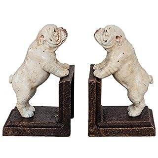2 bookends bulldog dog figure sculpture iron 13cm antique style