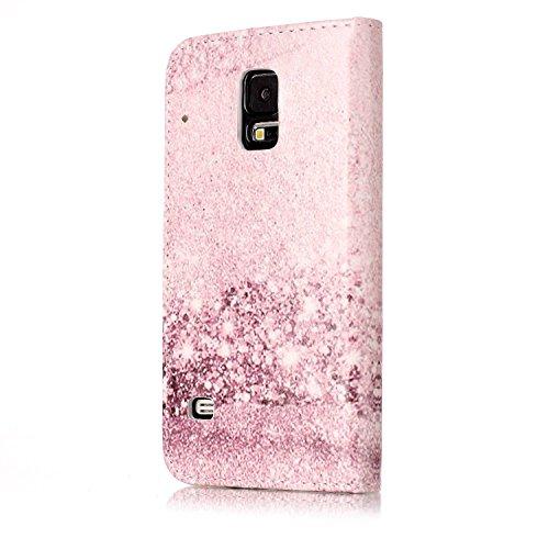 Samsung Galaxy S5 Custoida in Pelle Portafoglio,Samsung Galaxy S5 Cover Pu Wallet,KunyFond Lusso Moda Marmo Dipinto Leather Flip Protective Cover con Bella Modello Cover Custodia per Samsung Galaxy S5 Oro rosa