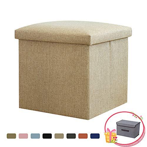 Fansu ottomana contenitore pouf poggiapiedi pieghevole, tinta unita moderno stoccaggio vestiti sgabello cassapanca coperchio rimovibile adatto per camera da letto corridoio (40x25x25cm,beige)