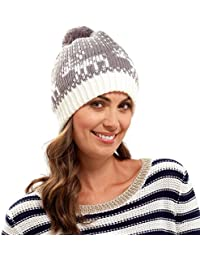 Fashionable Ladies Light Grey & Cream Fairisle Bobble Hat With Reindeer Pattern