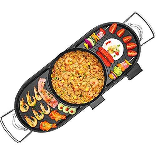 JGSDHIEU Elektrische Grills Bratpfanne Haushalt BBQ Maschine Raclette mit Hotpot Temperatur einstellbar rauchfreie Barbecue Pan Pot