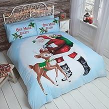 Christmas Kids Santa Reindeer Juego de cama con funda de edredón y funda de almohada con