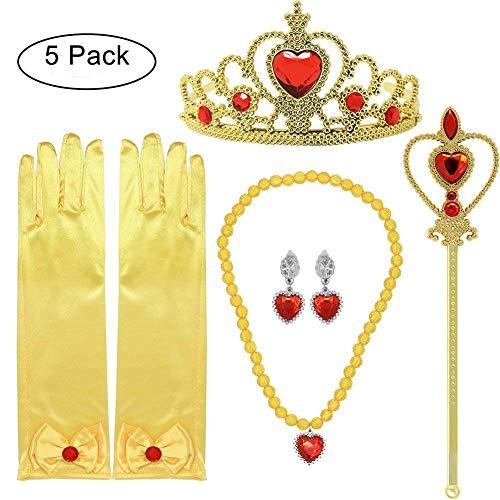 Tacobear 5Stk. Prinzessin Belle Kostüm ZubehörSet inklusive Belle Handschuhe Ohrring Kaiserkrone Zauberstab Halskette Prinzessin Belle Schmuck für Kinder Mädchen