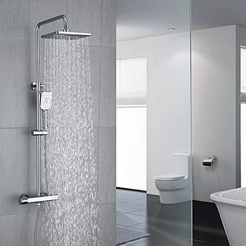 Umi. Essentials Duschsystem mit Thermostat Regendusche Duschset Duscharmatur Dusche Duschsäule inkl. verstellbarer Duschstange, Handbrause, Duschkopf