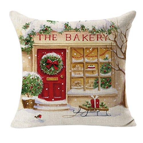 BZLine Taie d'oreiller décorative de Noël, Housse de Coussin imprimée The Bakery pour la fête de Noël