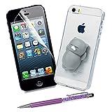 Lots Coque pour iPhone5 / iPhoneSE 3d - STXMALL iPhone5 Accessoire Silicone 3d Transparent avec Jouet Sopport - Coques iPhone5 + Stylet Tacile + Antichoc Ecran iPhone 5 - CHAT MAGIC