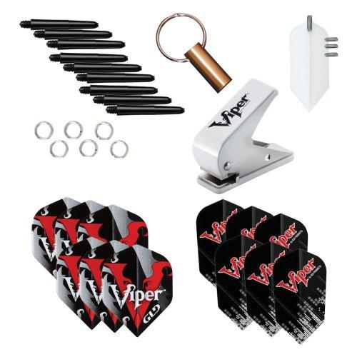 Viper Dart Zubehör: Flight Locher Werkzeug mit Sortiert Poly Pro Flights (Stahl und Soft-Tip Darts) - Flights Dart Viper