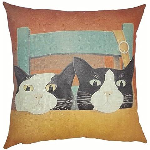 Hangood Divano Federa Cuscini Cotone in Lino Decorazioni per la Cas cute Cat 45cm x 45cm