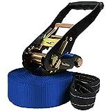 ALPIDEX Slackline 10 m (3 Tonnen belastbar), Farbe:blau