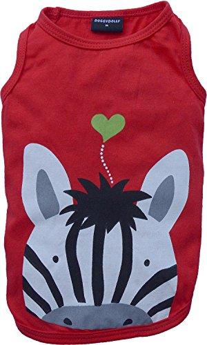Doggy Dolly T365 Hundeshirt Zebra, rot, Größe : S