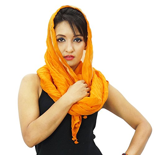 Les femmes Echarpes Neck Wrap longue étole mousseline Chunni Blend Dupatta Orange-2