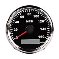 CALISTOUK 85mm Digital Stainless GPS Speedometer 160MPH Gauge for Car Truck Boat Black