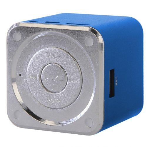 handy-point Tragbarer Mini Box Lautsprecher für Unterwegs mit eingebautem Akku FM Radio, Blau