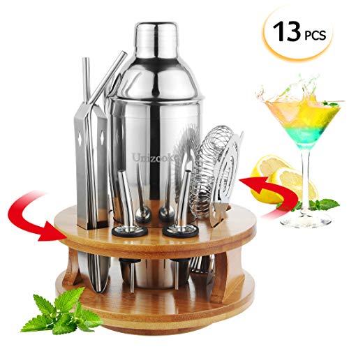Unizooke Cocktail shakers Set 13 Teilig, 360 Grad Drehbarer Bambus Basis, Professionell Cocktail zubehör Set, 550 ML Cocktailshaker für Zuhause, Küche, Bar