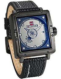 a62ab8e11c8b JewelryWe Grande Reloj Cuadrado Analógico Reloj de Hombre Correa de Cuero