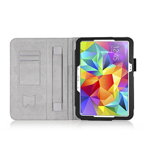 HOKO Black Leather Flip Cover Book Case with Card Slot and magnetic closure for Samsung Galaxy Tab S 10.5 LTE SM-T805