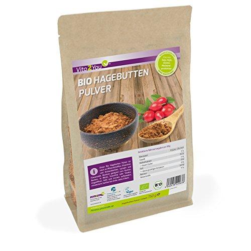 Bio Hagebuttenpulver 750g - 100% Ökologischen Anbau - Rohkost-Qualität im Zippbeutel - ganze Hagebutten gemahlen - Premium Qualität