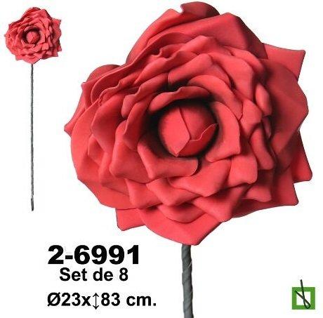 rosas pequeñas de foamy o goma eva Set de 8 rosas de foami en color rojo