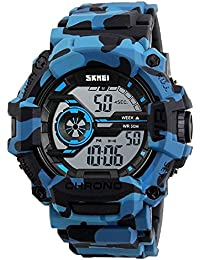 Skmei Multifunction Chronograph Military Blue Digital Sports Watch For Men (Camo-Blue)
