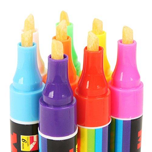 Fletion Set von 8 Farben Fluoreszierende Marker Pens Nachtlicht Highlighter Flüssige Kreide Pen 6mm Markers Drawing Pens Glow in the Dark for LED Writing Menu Board (Stifte The Dark Glow In)