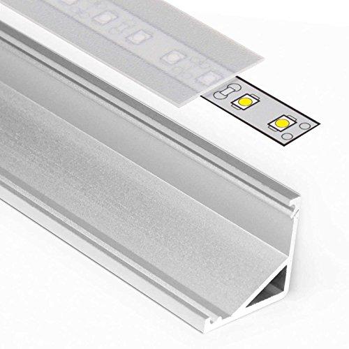 1m Aluprofil CABI (BA) 1 Meter Aluminium Ecke Profil-Leiste eloxiert für LED Streifen - Set inkl Abdeckung-Schiene satiniert-frosted diffuse halbtransparent mit Endkappen (1 Meter satiniert slide) - Satiniert Mit Streifen