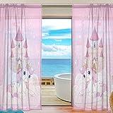 FFY Go Sheer Voile Rideau de fenêtre Licorne Rose Imprimé Matériau Souple pour Chambre à Coucher Salle de séjour Décor de Cuisine Maison Décoration de Porte 2Panneaux 198,1x 139,7cm