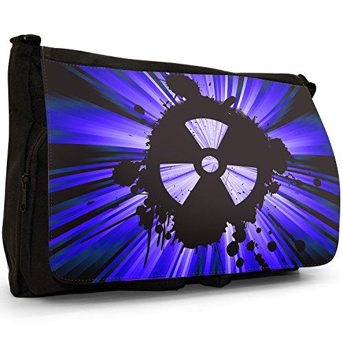 Radio Active, motivo: simbolo di pericolo nucleare, colore: nero, Borsa Messenger-Borsa a tracolla in tela, borsa per Laptop, scuola Blue