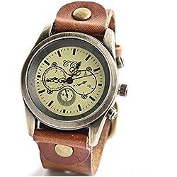ANNA&JOE Unisex Retro Leather Fashion Cowhide Leather Strap Quartz Watches(Brown Red Green) , brown