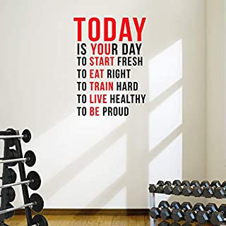 DesignDivil Today is Your Day to Start Fresh. Wall Decal Motivational Quote-Health and Fitness Spinning Kettlebell Workout Boxing UFC MMA