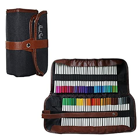 Ensemble de 72 Crayons de Couleur avec une Trousse de Rangement Enroulable par Handi Stitch - Des Couleurs Vibrantes pour les Livres de Coloriage Adultes et Enfants, le Dessin, les Loisirs Artistiques - Lot de Crayons de Haute