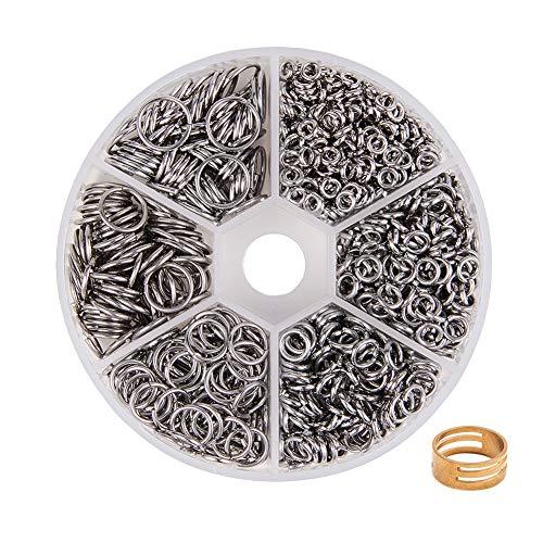 PandaHall Elite 1 Scatola Circa 1000pcs Anellini Aperti Anellini Argento per bracciali collane Orecchini Bigiotteria Fai da Te in Acciaio Inox 4mm/ 5mm/ 6mm/ 8mm/ 9mm/ 10mm Accessori per Gioielli