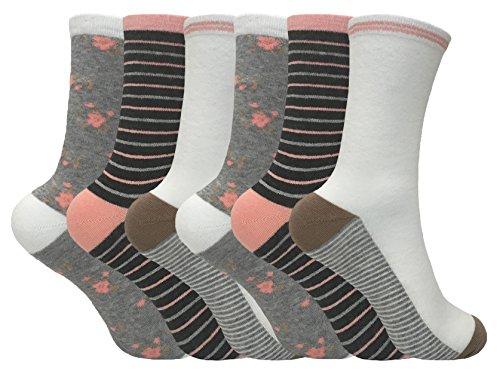 Donna Confezione Da 6colorato cute Funky traspirante calzini di cotone con molti motivi 4-7UK LTF07 (Cotone Rich Dress Calzini)