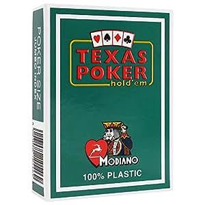 """MODIANO """"Texas Poker Hold´em"""" - 100% Plastik Kartenspiel, 2 Pips / Eckzeichen im Jumbo Index, dunkelgrün"""