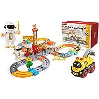 BeebeeRun Juego de Tren de 132 Piezas, Carril de Tren para niños, Circuito Coches Juguete Niño, Tren Juguete Pista, Carril para niños con Autos eléctricos y Robots