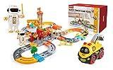 Set Treno Giocattolo per Bambini 130 PCS, Set Ferrovia, Pista Treno, Binario per Bambini con Auto Elettriche e Robot
